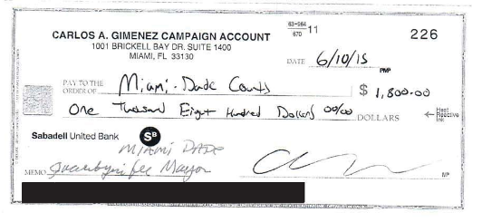 Carlos Gimenez submits late night campaign check (10:20 pm)